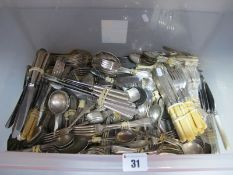 A Large Mixed Lot of Assorted Plated Cutlery, including coffee spoons, dessert sets, knives,