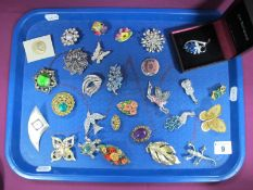 Assorted Costume Brooches, including birds, butterflies etc :- One Tray