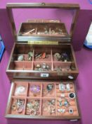 A Collection of Assorted Modern Dress Rings, contained in a wooden jewellery box.