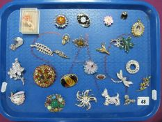 """A Collection of Assorted Costume Brooches, including modern amber and """"925"""" circular flowerhead"""