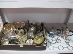 Assorted Plated Ware, including tea wares, pierced dish, sauce boat etc:- One Box