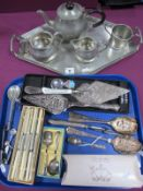Plated Cake Slices, boxed set of knives, Chesterfield souvenir caddy spoon, replica seal top