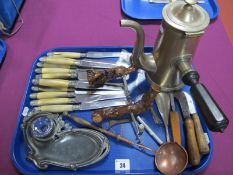 A XIX Century Coffee Pot, with turned wood side handle, a copper ladle with turned wood handle, an