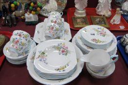 A Shelley Bone China 'Wild Flowers' Tea Set, pattern No. 13668, comprising six tea plates, cups