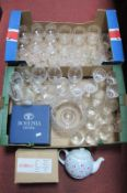 Cath Kidston Teapot, Bohemia and other glass bowl, drinking glasses:- Two Boxes