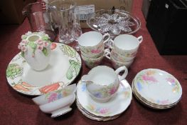 Floral China Tea Service, of twenty pieces, drinking glasses, etc:- Two Boxes