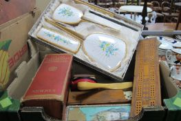 Crib Board, dominoes, dressing table set, glove box, books, magnifier, etc:- Two Boxes