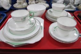 Shelley Art Deco Tea Ware, of seventeen pieces in green and silvered design, C12317.