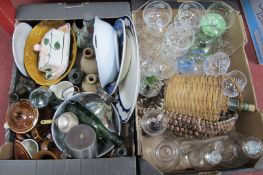 Glass and Stoneware Bottles, plated sauce boat, colander, glassware, etc:- Two Boxes