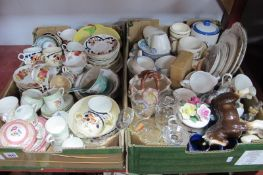 1930's Royal Kent and Other Tea Ware, kitchen jars, other ceramics, glassware:- Two Boxes
