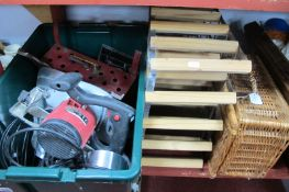 Vintage Tools, including saw, plane, etc, an enamel electric fire, (untested; sold for parts only) a