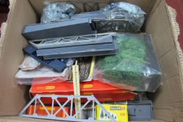 A Quantity of HO/OO Scale Model Railway Accessories and Spares, including scenery and lineside