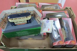 Eight Corgi Tramline Models, double, single and open deck, all different:- Boxed