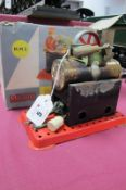 A Mamod MM2 Stationery Steam Engine, well used, poor box.