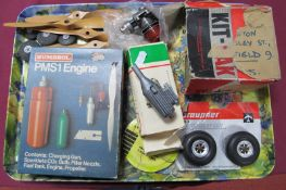 A Quantity of RC Aero Modellers Parts and Accessories, including Amco RC Model Aero Engine, wooden