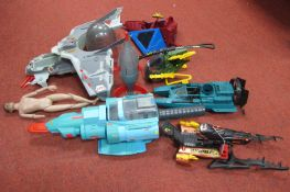 A Quantity of Plastic Toy Vehicles, including GI Joe Military Helicopter, Powerboat, predominately