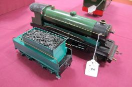 A Bowman 'O' Gauge 4-4-0 Live Steam Locomotive, signs of some repainting, burner intact, with