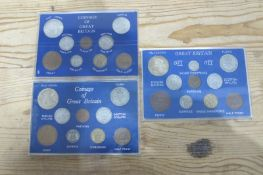 Three Plastic Sandhill Cases of GB Coinage, 1939/1944 and 1945.