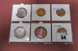 Six Copy Trial Coins, including Fifty Pence Kew Gardens.