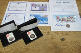 Five Westminster and Date Stamp Coin Presentations, including the new twelve sided One Pound Coin,