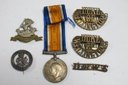 A WWI War Medal to 24/950 Pte F Roseblade, West Riding Regt, plus Services Rended badge and