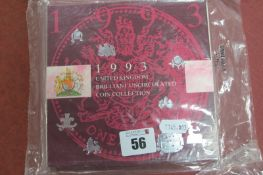 A Royal Mint 1993 United Kingdom Brilliant Uncirculated Coin Collection, with Fifty Pence, sealed.
