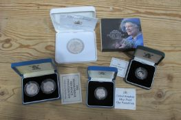 Four Royal Mint Silver Proof Coins, a William and Kate Wedding 2011 Silver Crown, a 1991 One