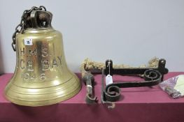 A Large Mid XX Century Royal Navy Brass Ships Bell, c. 10inches high plus bracket, stamped - 'HMS