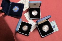 Four Royal Mint Silver Proof Coins, 1989 One Pound, 1991 Silver Pound, 1986 Commonwealth Games Two