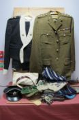 A QEII Officers Mess Dress, including cap, tunic and trousers, No 2 tunic and cap to the rank of