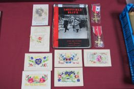 Two Reproduction MBE's, a small quantity of WWI silks and a copy of 'Sheffield Blitz'.
