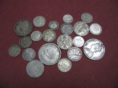 A Small Quantity of Mainly World Silver Base Coins, including 1885 Rupee and 1941 ½ Rupee,