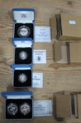 Four Royal Mint Silver Proof Coins, 1988? One Pound, 1990 One Pound, 1994 D-Day Fifty Pence, 1989