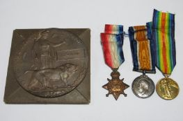 A WWI Casualty Group, comprising 1914-15 Star, War Medal, Victory Medal and Death 'Penny' to 3922