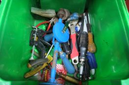 Tools; screwdrivers, clamps, chest drill, wrench, hammer, socket, pliers etc.