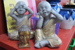 Two Oriental Baby Figures - See All and Hear All, 30cm high, gilt female bust. (3)