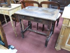 XIX Century Joined Oak Side Table, with rectangular top, brass plaque to single drawer, on turned