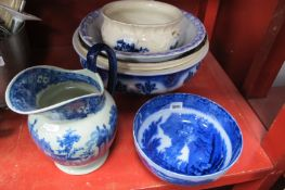 Three Ash Bowls, chamber pot, later jug, Jenny Lind bowl (chipped).