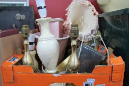Table Lamps, gilt wall bracket, boxes:- One Box