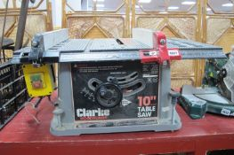 Clarke 10 inch (254mm) Table Saw, untested: sold for parts only.
