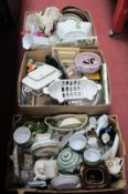 Poole Pottery Bowls, (damaged), Italian dish, bird group, figurines,Denby cups and saucers, other