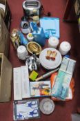 Delta Toaster, Thermos coffee pot, Neoflam knives, other kitchen ware:- Two Boxes