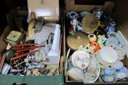 Clocks, manicure sets, optics, pottery, etc:- Two Boxes