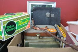 Whip, Henselite Lawn Green Bowls, Karate books, Wonderful models, vanity case, etc:- One Box