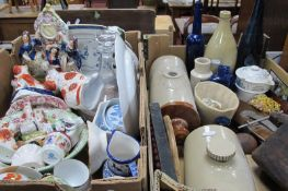Decanter, stoneware bottle, foot warmers, tie press, Staffordshire spaniels, etc:- Two Boxes