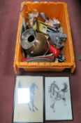 Copper Jug, Kettle, Prints, Fishing Reels, Soda Siphon, etc:- One Box