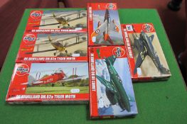 Six Plastic 1/72nd Scale Aircraft Kits by Airfix, including De Havilland DH.88 Comet and Tiger Moth,