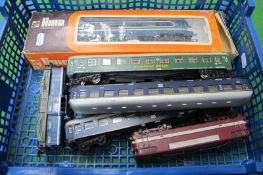 Three 'HO' Scale Locomotive by Lima and Four Coaches, all spares, repairs, playworn.