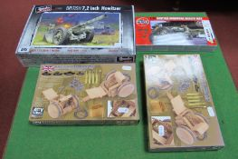 Four WWII Based British Military Plastic Kits, Airfix 1:72 Willys Jeep, two AFV 1:35 scale British