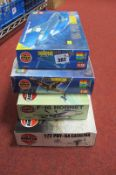 Three Plastic 1/72nd Scale Aircraft Kits, and one 1/48th scale by Airfix, including Hawker Hurricane